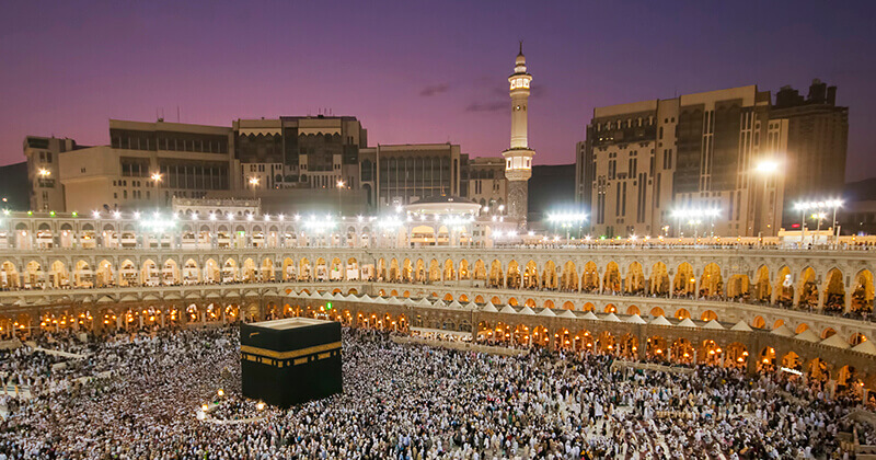 Pilgrims visit the Sacred Mosque in Mecca as part of the Hajj