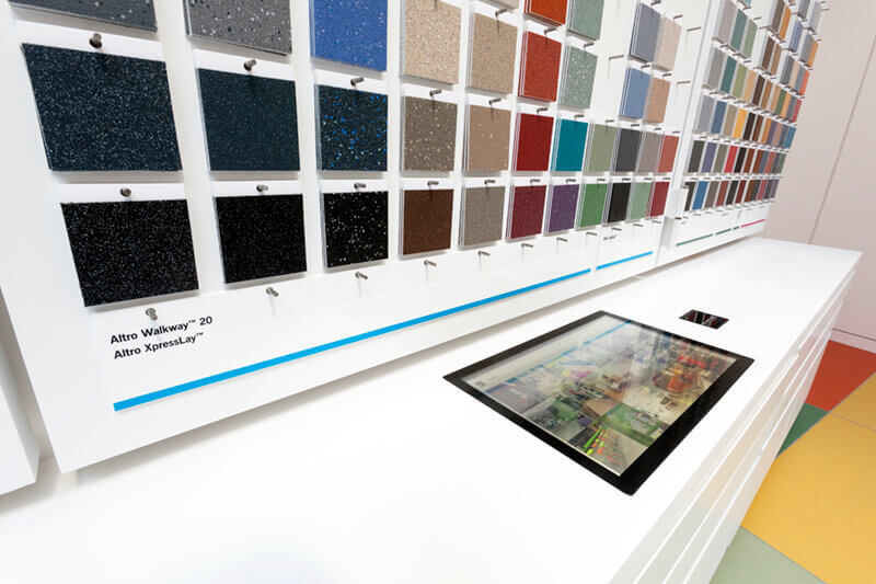 Barcode reader identifies flooring colour and texture samples