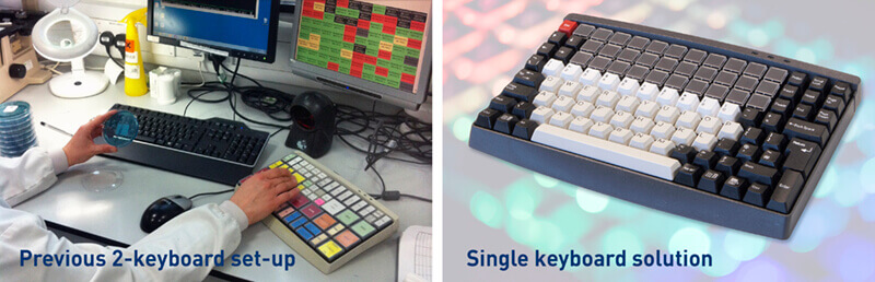 Previous twin keyboard method of working, and the new single keyboard solution