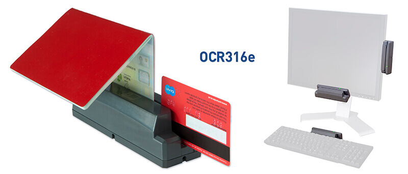 OCR316e Passport and Card Reader and positioning illustration