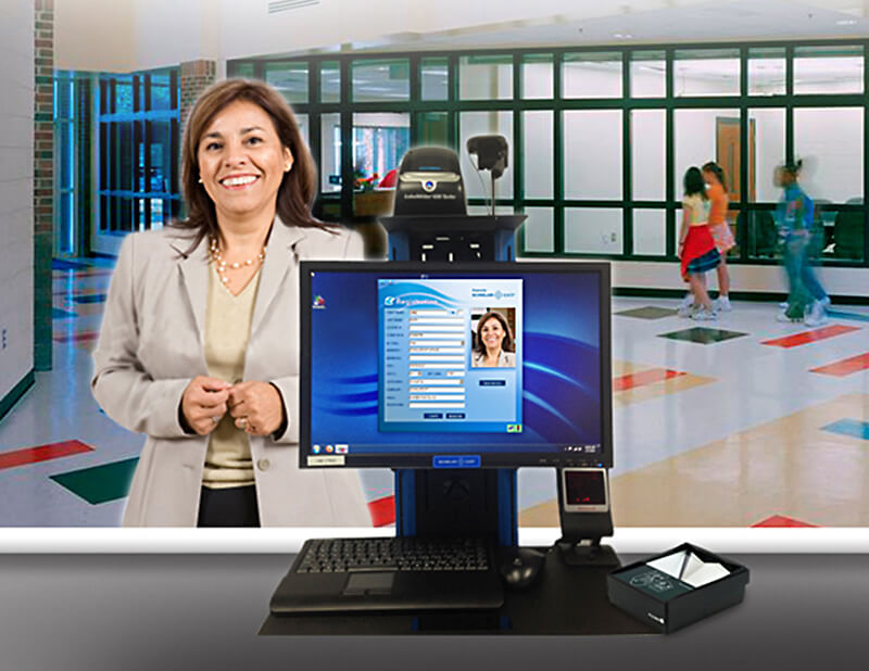 Access-IS ATOM ID Reader and ScholarChip Identity System Installed on School Reception Desk